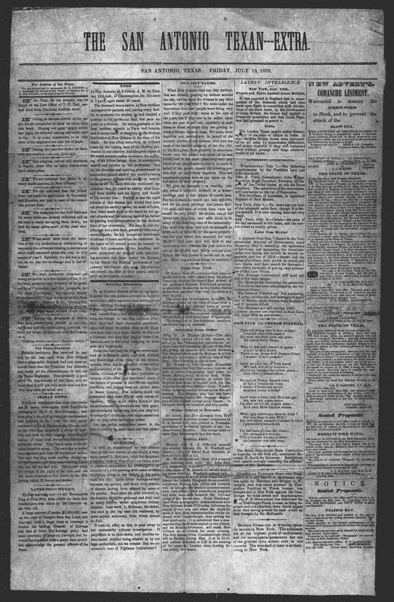 San Antonio Texan (San Antonio, Tex.), Ed. 1 Friday, July 16, 1858                                                                                                      [Sequence #]: 1 of 1