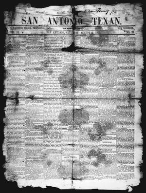 Primary view of object titled 'San Antonio Texan (San Antonio, Tex.), Vol. 11, No. 32, Ed. 1 Saturday, August 6, 1859'.