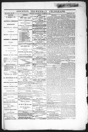 Primary view of object titled 'Houston Tri-Weekly Telegraph (Houston, Tex.), Vol. 31, No. 106, Ed. 1 Wednesday, November 8, 1865'.