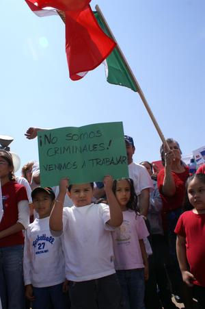 Primary view of object titled '[Children hold up sign during protest]'.