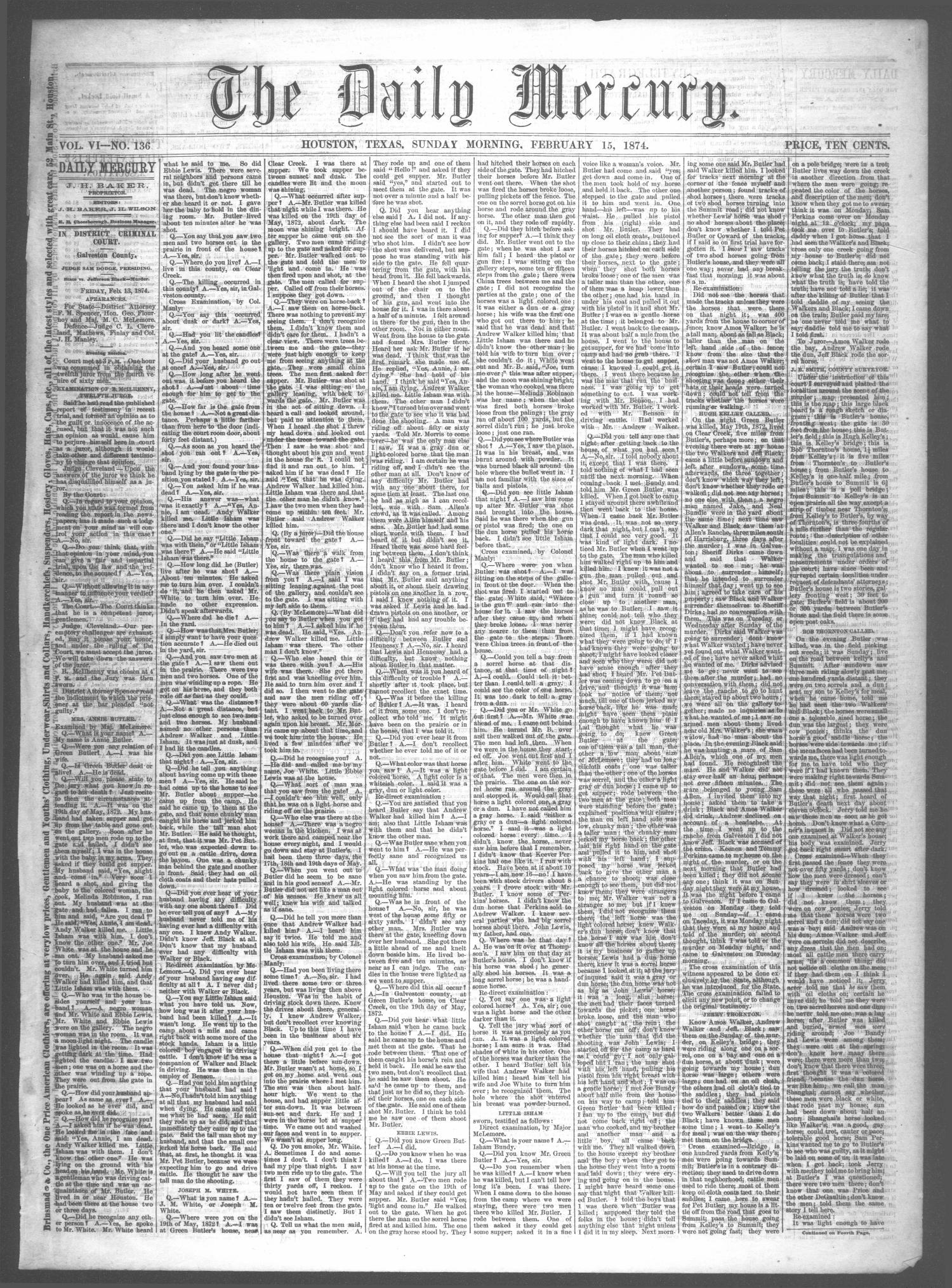 The Daily Mercury (Houston, Tex.), Vol. 6, No. 136, Ed. 1 Sunday, February 15, 1874                                                                                                      [Sequence #]: 1 of 4