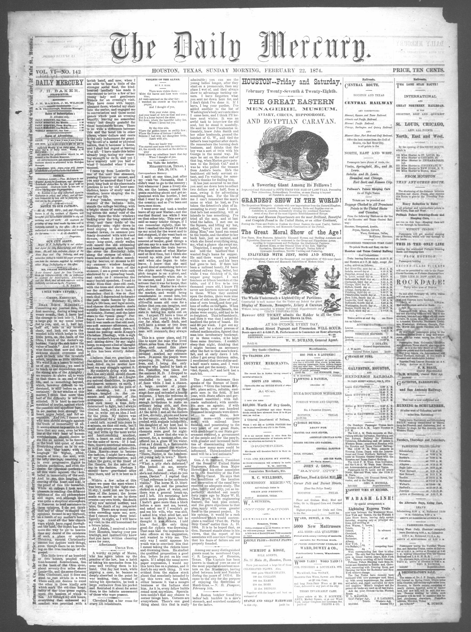 The Daily Mercury (Houston, Tex.), Vol. 6, No. 142, Ed. 1 Sunday, February 22, 1874                                                                                                      [Sequence #]: 1 of 4