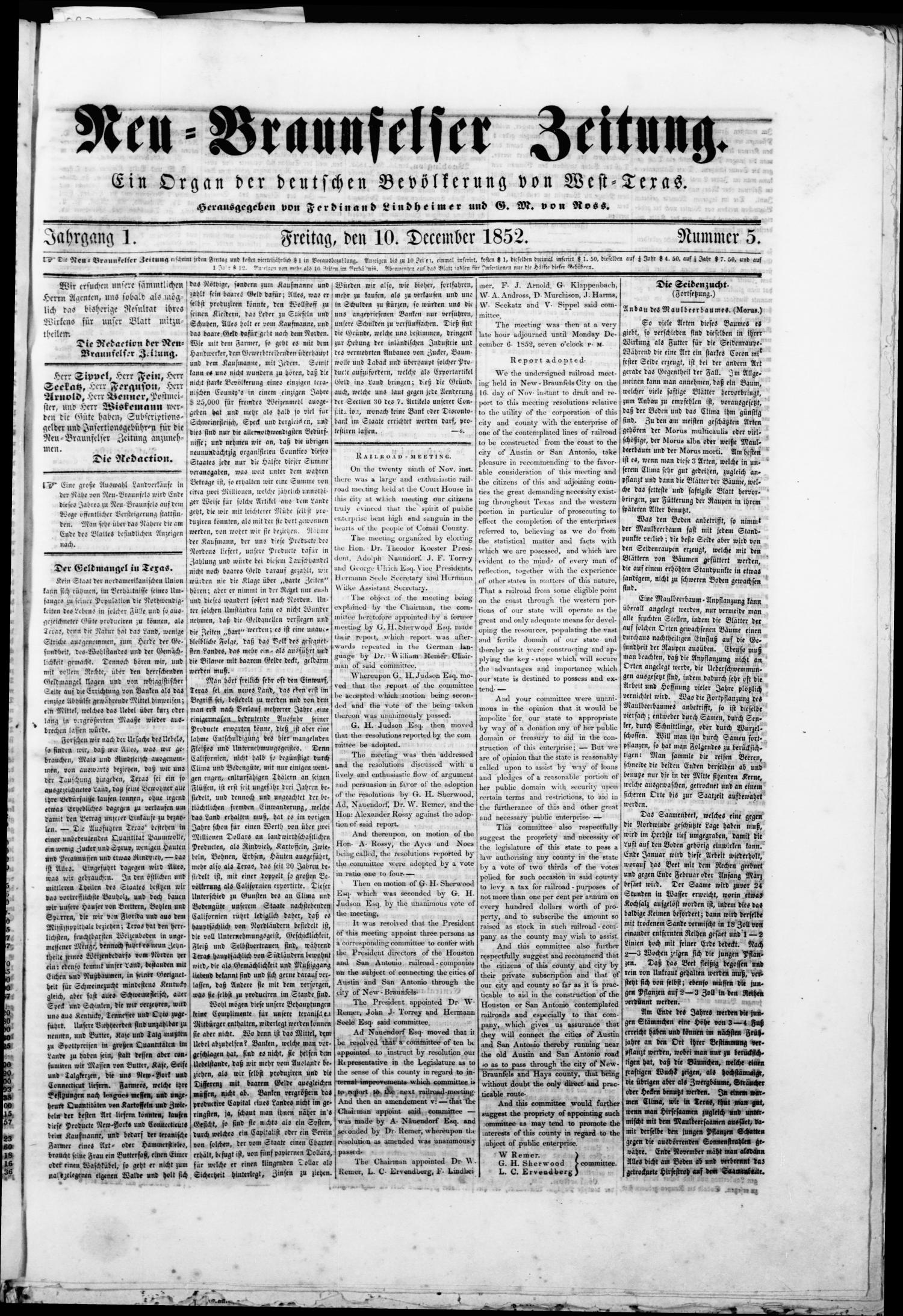 Neu-Braunfelser Zeitung (New Braunfels, Tex.), Vol. 1, No. 5, Ed. 1 Friday, December 10, 1852                                                                                                      [Sequence #]: 1 of 4