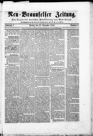 Primary view of object titled 'Neu-Braunfelser Zeitung (New Braunfels, Tex.), Vol. 1, No. 6, Ed. 1 Friday, December 17, 1852'.