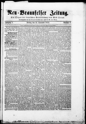 Neu-Braunfelser Zeitung (New Braunfels, Tex.), Vol. 1, No. 8, Ed. 1 Friday, December 31, 1852