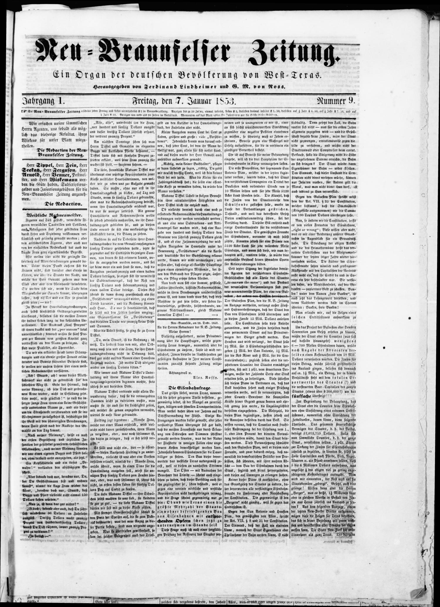 Neu-Braunfelser Zeitung (New Braunfels, Tex.), Vol. 1, No. 9, Ed. 1 Friday, January 7, 1853                                                                                                      [Sequence #]: 1 of 4
