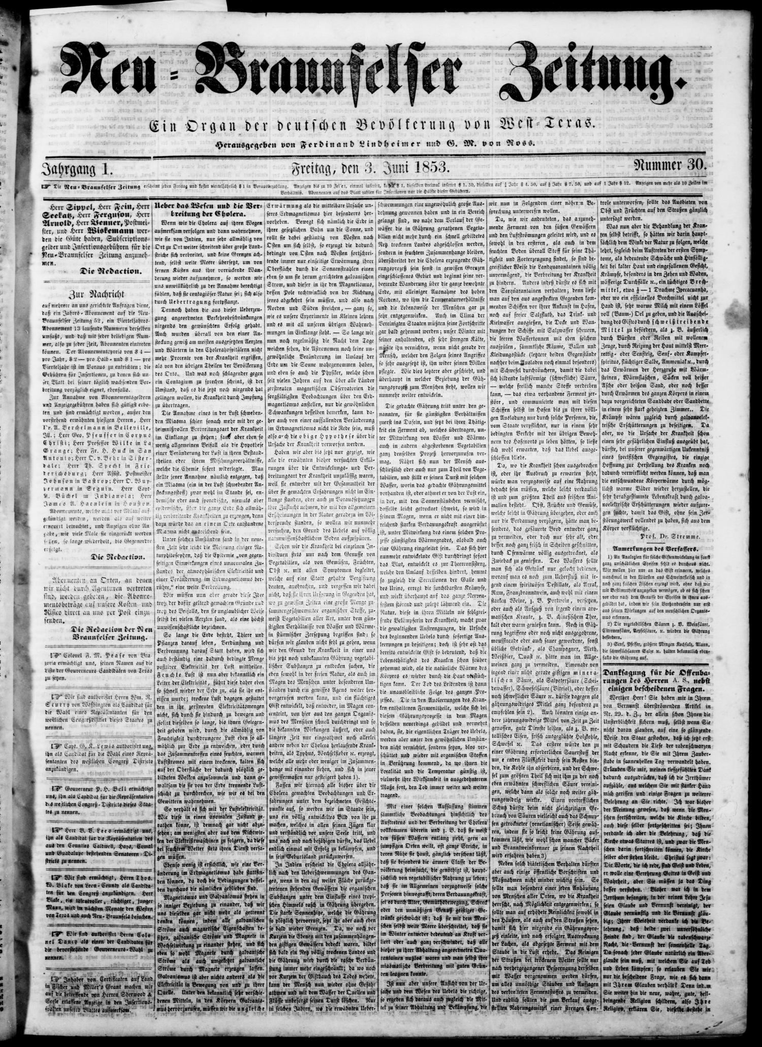 Neu-Braunfelser Zeitung (New Braunfels, Tex.), Vol. 1, No. 30, Ed. 1 Friday, June 3, 1853                                                                                                      [Sequence #]: 1 of 4