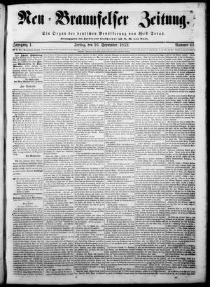 Neu-Braunfelser Zeitung (New Braunfels, Tex.), Vol. 1, No. 43, Ed. 1 Friday, September 16, 1853
