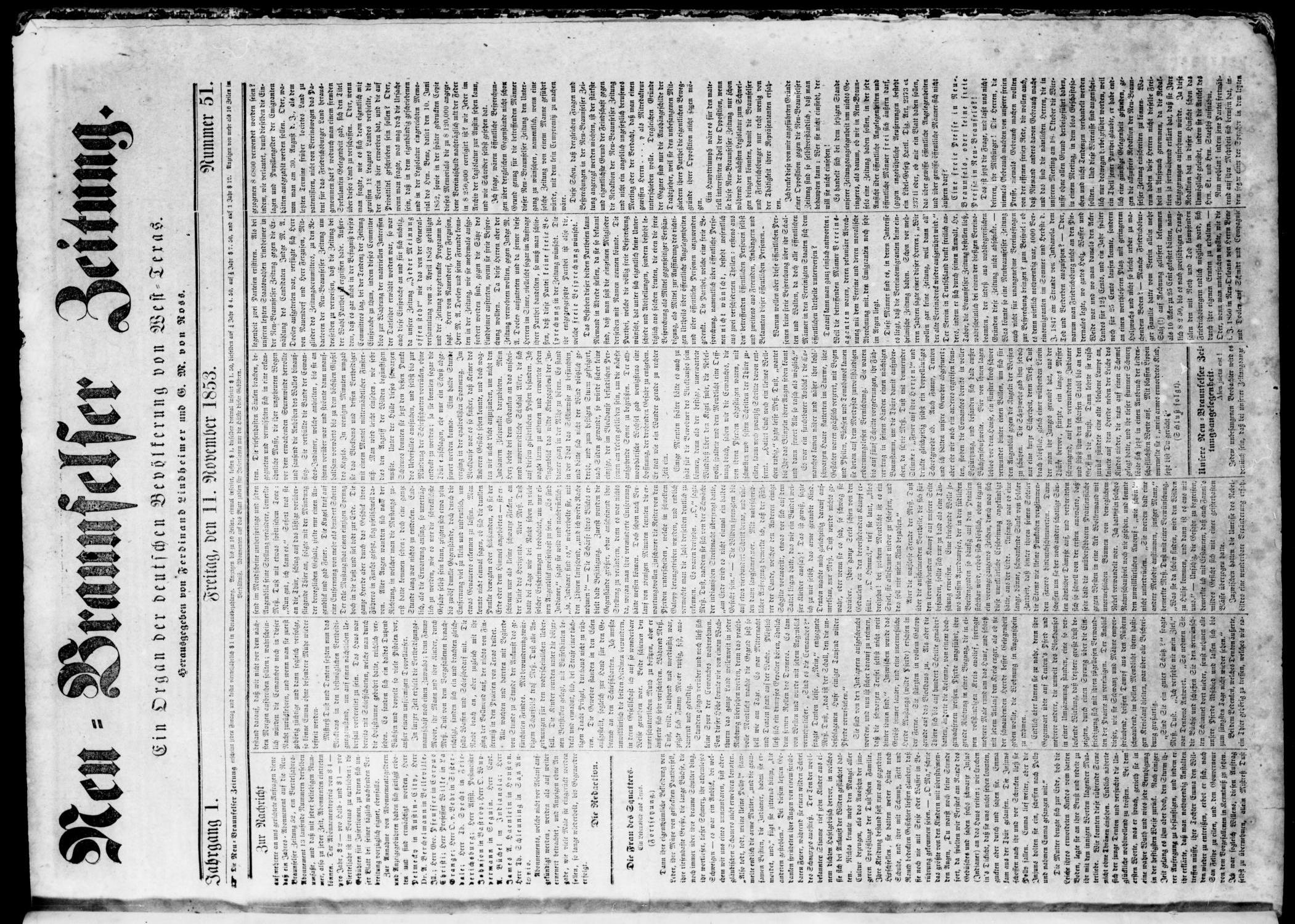 Neu-Braunfelser Zeitung (New Braunfels, Tex.), Vol. 1, No. 51, Ed. 1 Friday, November 11, 1853                                                                                                      [Sequence #]: 1 of 4