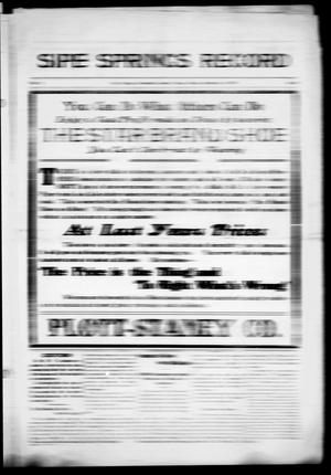 Primary view of object titled 'Sipe Springs Record (Sipe Springs, Tex.), Vol. 5, Ed. 1 Friday, September 4, 1914'.