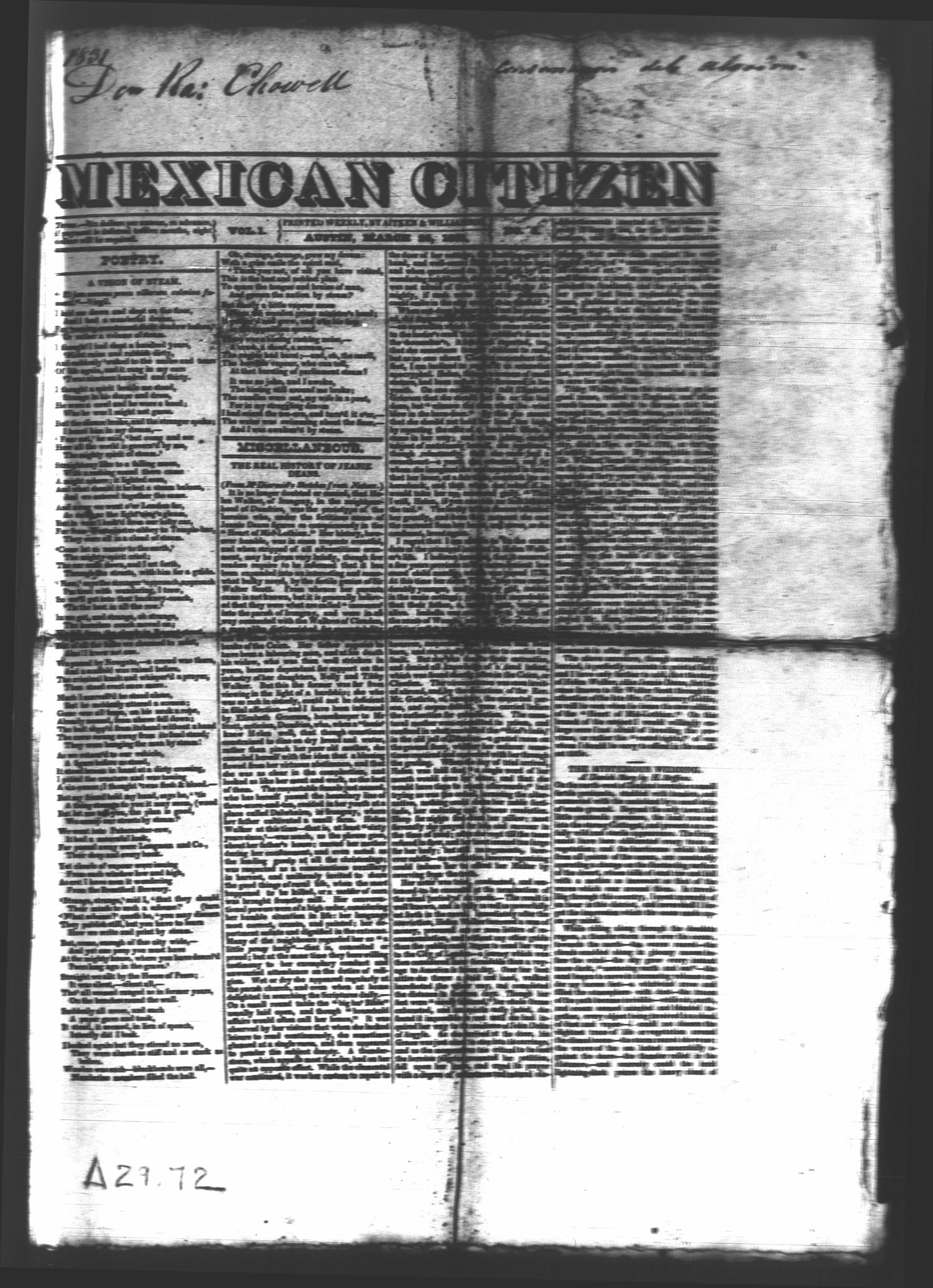 Mexican Citizen (Austin, Tex.), Vol. 1, No. 6, Ed. 1 Thursday, March 24, 1831                                                                                                      [Sequence #]: 1 of 4