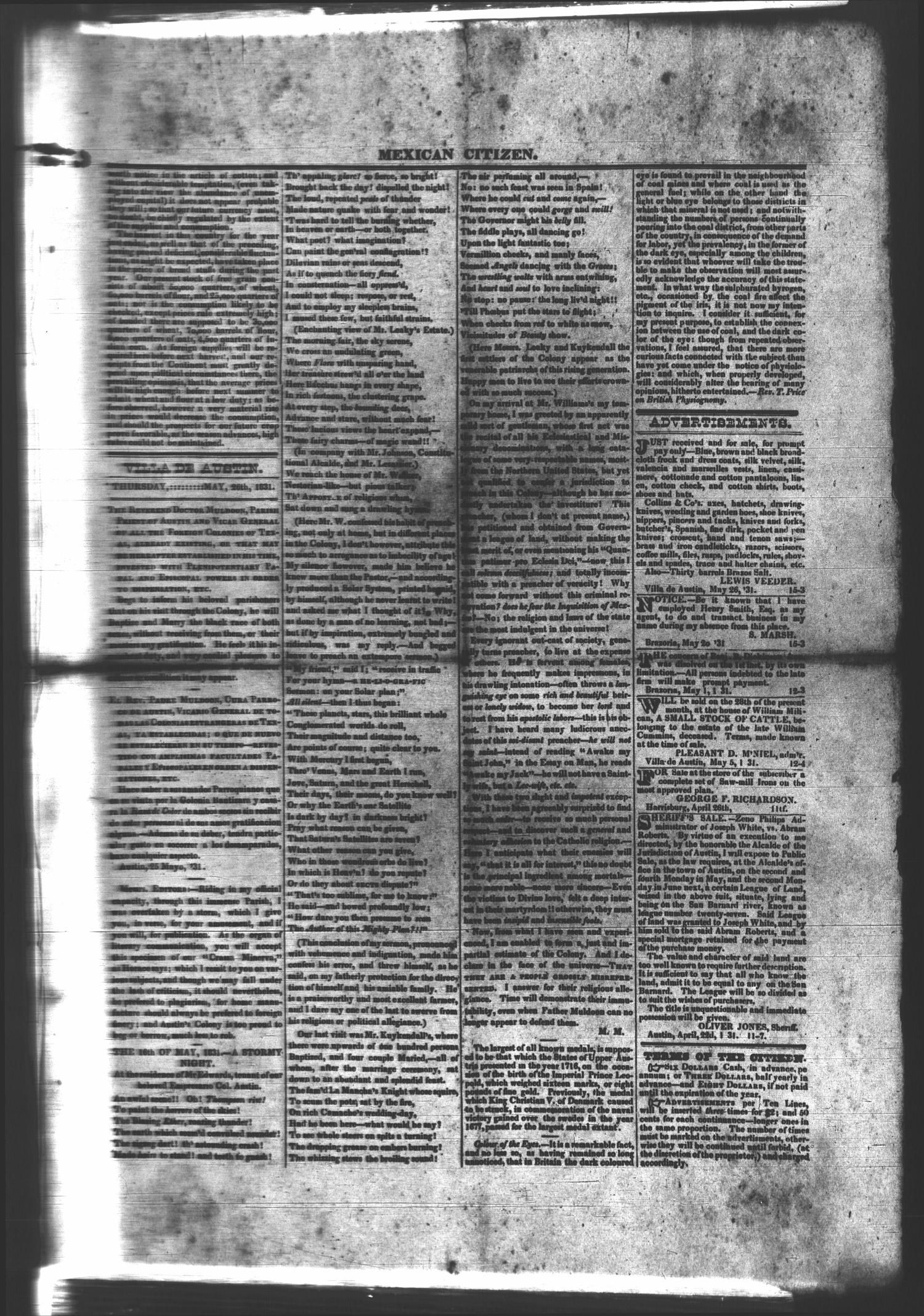 Mexican Citizen (Austin, Tex.), Ed. 1 Thursday, May 26, 1831                                                                                                      [Sequence #]: 1 of 2