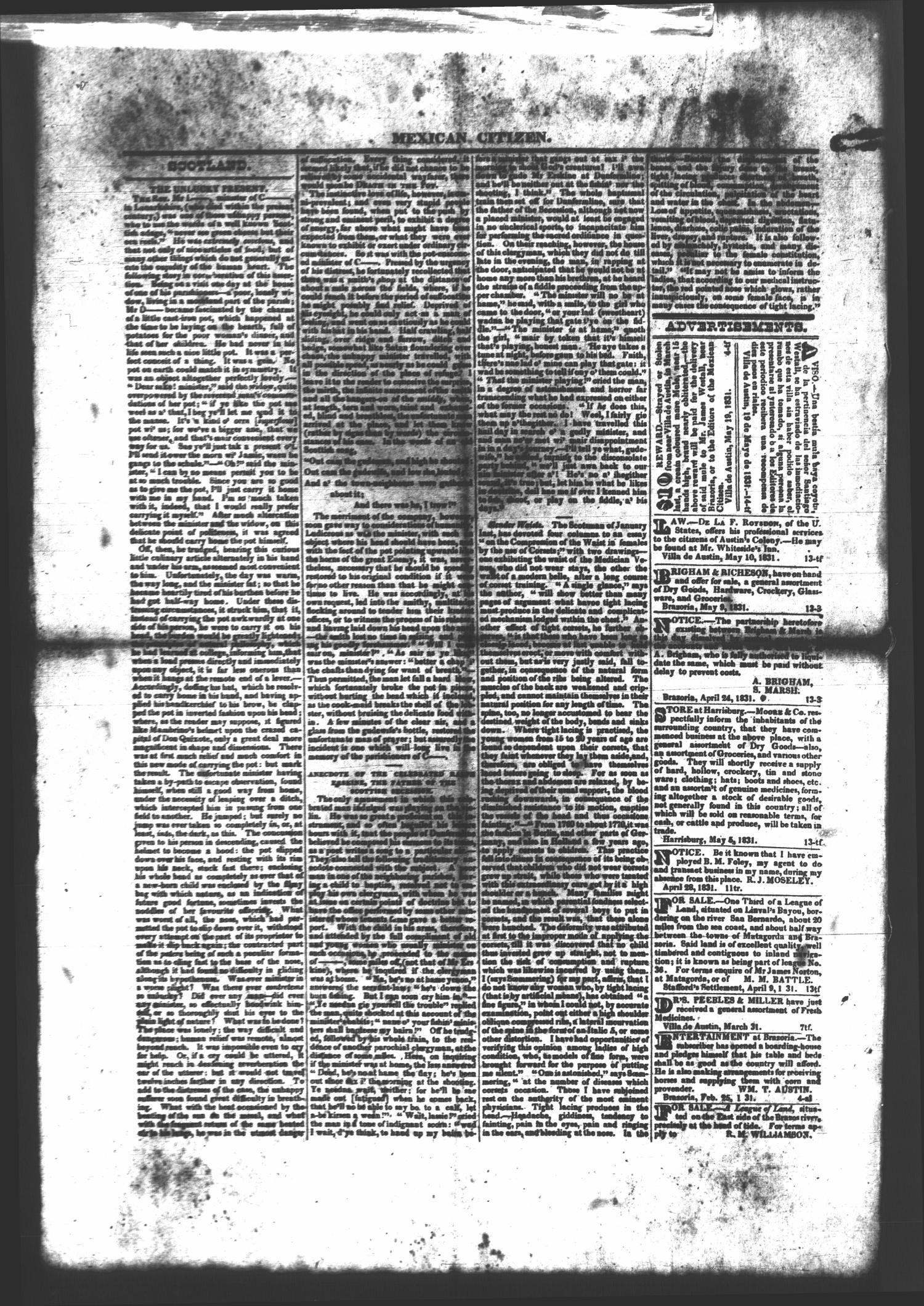 Mexican Citizen (Austin, Tex.), Ed. 1 Thursday, May 26, 1831                                                                                                      [Sequence #]: 2 of 2