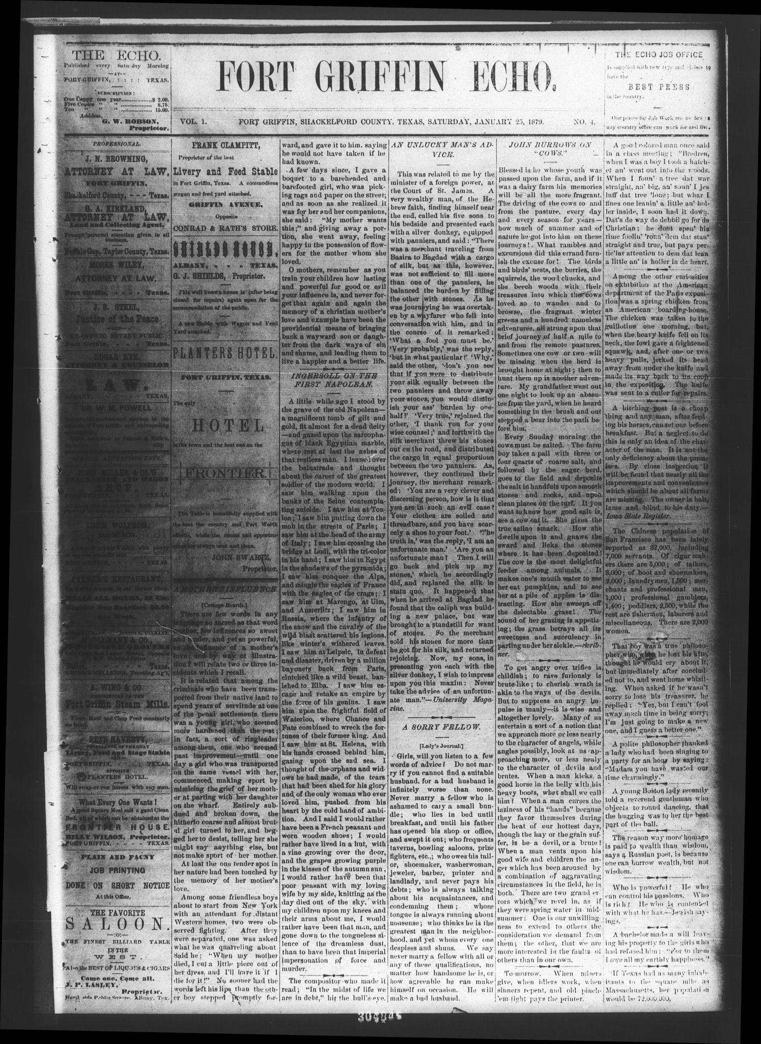 Fort Griffin Echo (Fort Griffin, Tex.), Vol. 1, No. 4, Ed. 1 Saturday, January 25, 1879                                                                                                      [Sequence #]: 1 of 4