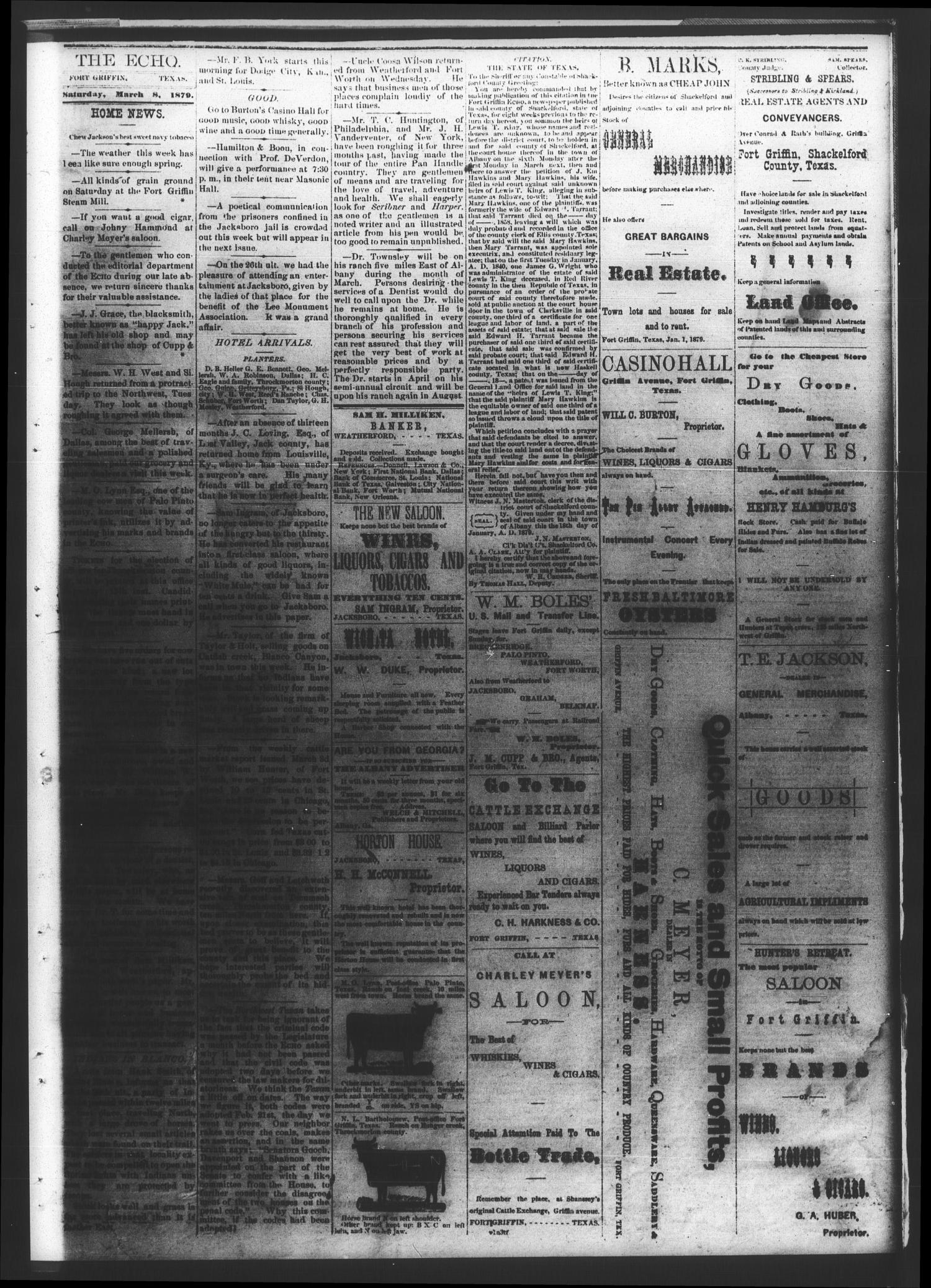 Fort Griffin Echo (Fort Griffin, Tex.), Vol. [1], No. [10], Ed. 1 Saturday, March 8, 1879                                                                                                      [Sequence #]: 1 of 1