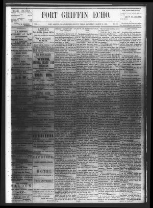 Fort Griffin Echo (Fort Griffin, Tex.), Vol. 1, No. 13, Ed. 1 Saturday, March 29, 1879