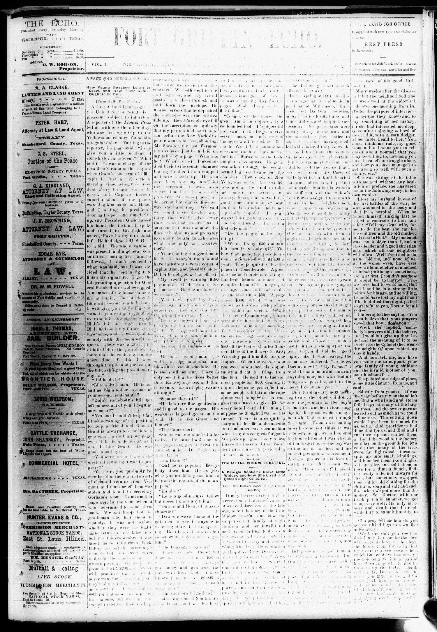 Fort Griffin Echo (Fort Griffin, Tex.), Vol. 1, No. 37, Ed. 1 Saturday, September 13, 1879                                                                                                      [Sequence #]: 1 of 4