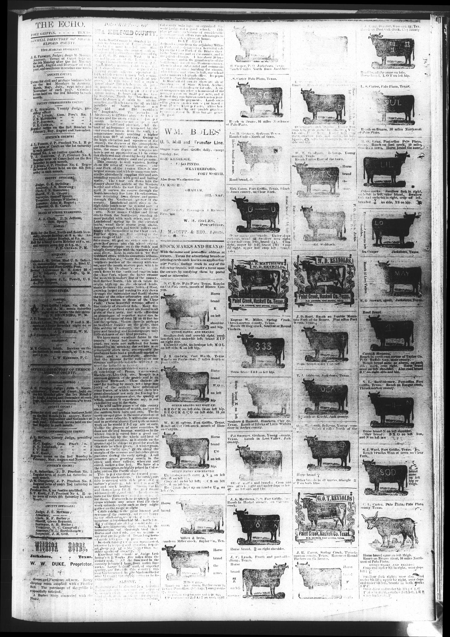 Fort Griffin Echo (Fort Griffin, Tex.), Vol. 1, No. 37, Ed. 1 Saturday, September 13, 1879                                                                                                      [Sequence #]: 4 of 4