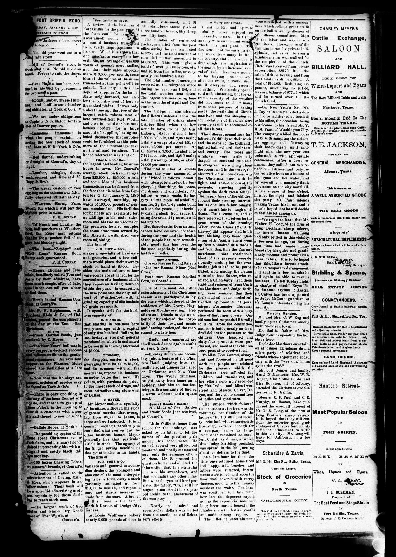 Fort Griffin Echo (Fort Griffin, Tex.), Vol. 1, No. 52, Ed. 1 Saturday, January 3, 1880                                                                                                      [Sequence #]: 1 of 2