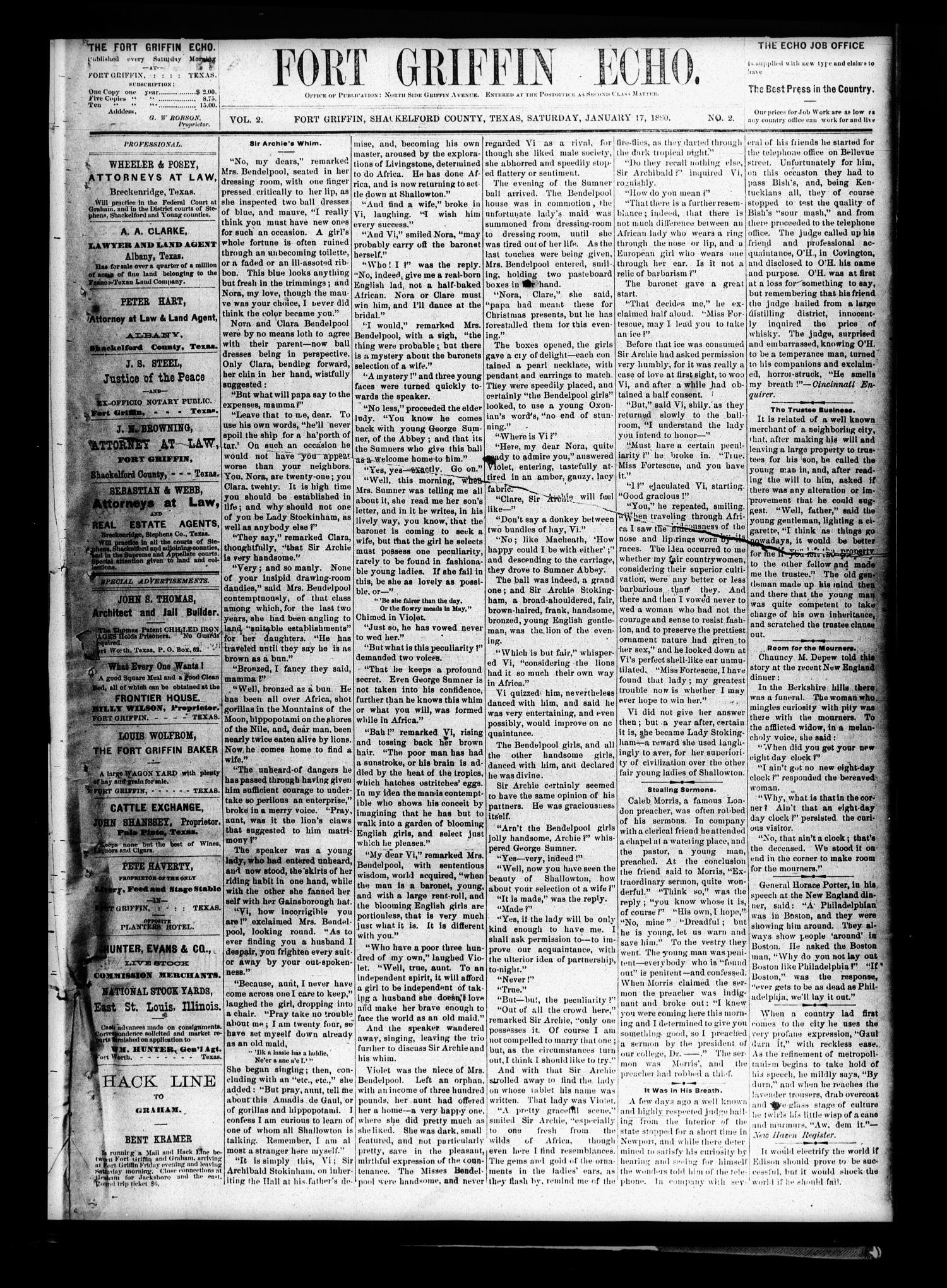Fort Griffin Echo (Fort Griffin, Tex.), Vol. 2, No. 2, Ed. 1 Saturday, January 17, 1880                                                                                                      [Sequence #]: 1 of 4
