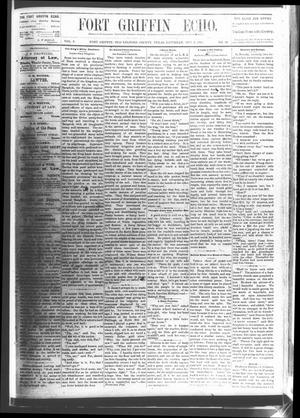 Primary view of object titled 'Fort Griffin Echo (Fort Griffin, Tex.), Vol. 3, No. 38, Ed. 1 Saturday, October 8, 1881'.