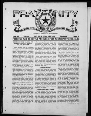 Primary view of object titled 'Fraternity (Fort Worth, Tex.), Vol. 13, No. 4, Ed. 1 Wednesday, April 1, 1914'.