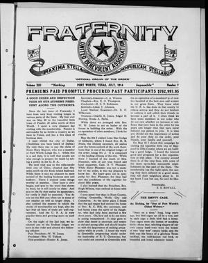 Primary view of object titled 'Fraternity (Fort Worth, Tex.), Vol. 13, No. 7, Ed. 1 Wednesday, July 1, 1914'.