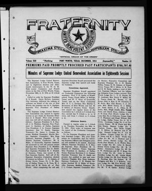 Primary view of object titled 'Fraternity (Fort Worth, Tex.), Vol. 13, No. 12, Ed. 1 Tuesday, December 1, 1914'.