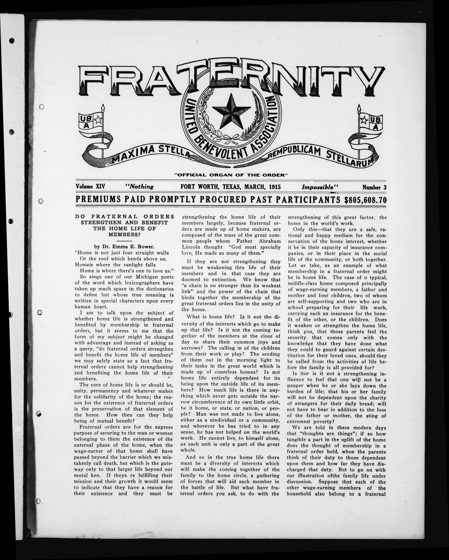 Fraternity (Fort Worth, Tex.), Vol. 14, No. 3, Ed. 1 Monday, March 1, 1915                                                                                                      [Sequence #]: 1 of 8