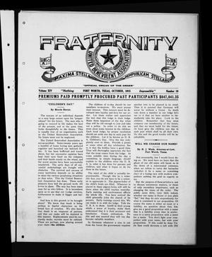 Primary view of object titled 'Fraternity (Fort Worth, Tex.), Vol. 14, No. 10, Ed. 1 Friday, October 1, 1915'.