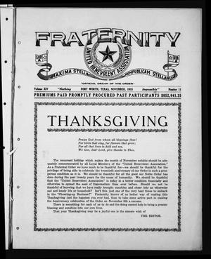 Primary view of object titled 'Fraternity (Fort Worth, Tex.), Vol. 14, No. 11, Ed. 1 Monday, November 1, 1915'.