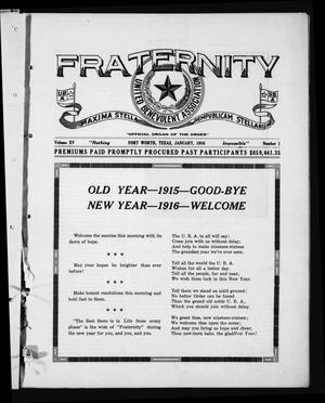 Primary view of object titled 'Fraternity (Fort Worth, Tex.), Vol. 15, No. 1, Ed. 1 Saturday, January 1, 1916'.