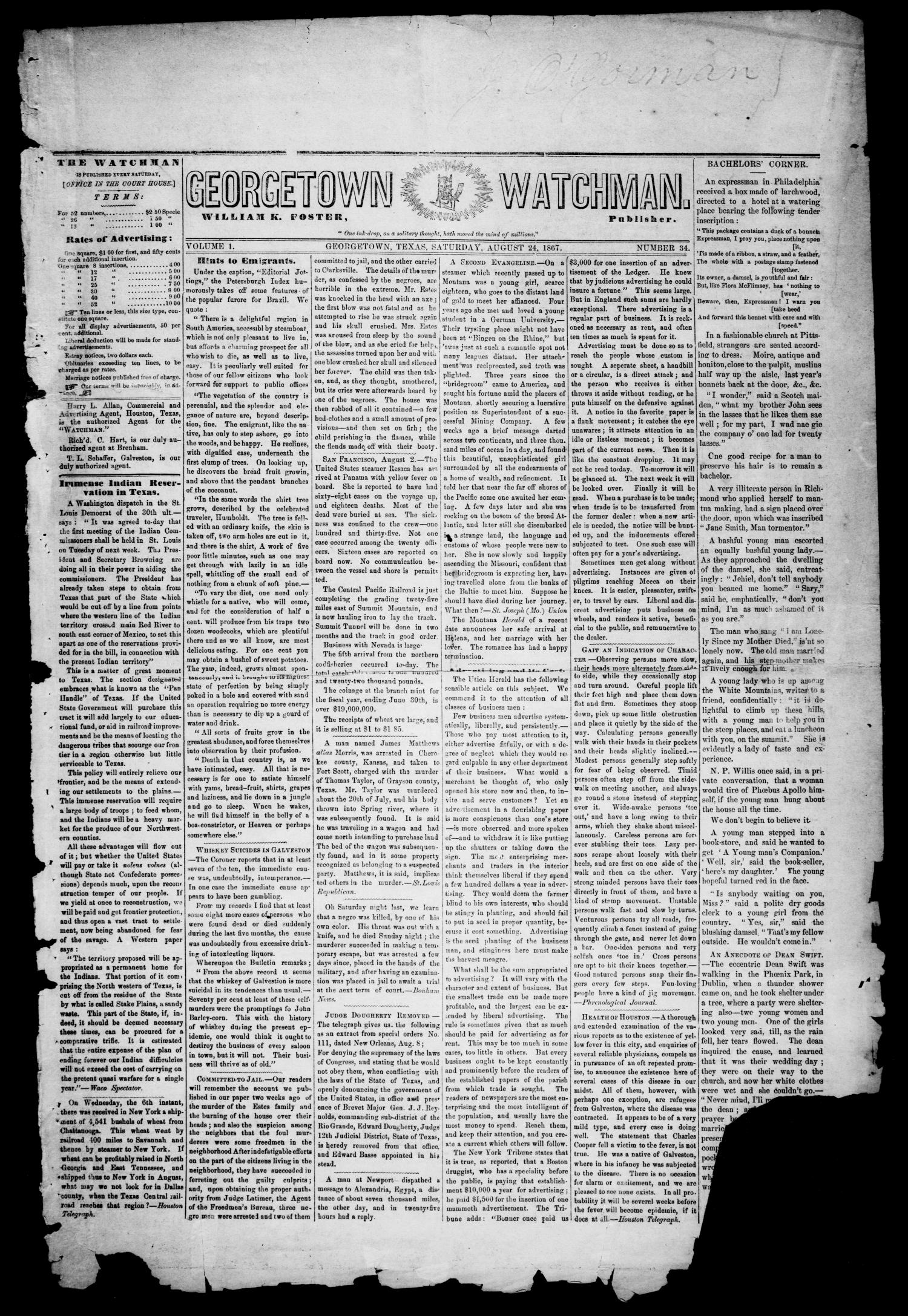 Georgetown Watchman (Georgetown, Tex.), Vol. 1, No. 34, Ed. 1 Saturday, August 24, 1867                                                                                                      [Sequence #]: 1 of 4