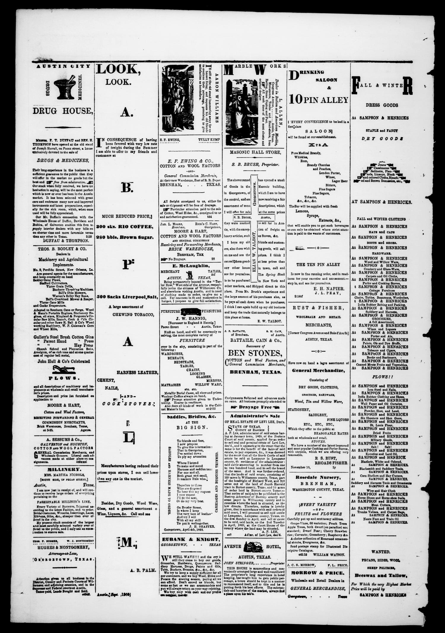 Georgetown Watchman (Georgetown, Tex.), Vol. 3, No. 5, Ed. 1 Saturday, March 27, 1869                                                                                                      [Sequence #]: 4 of 4