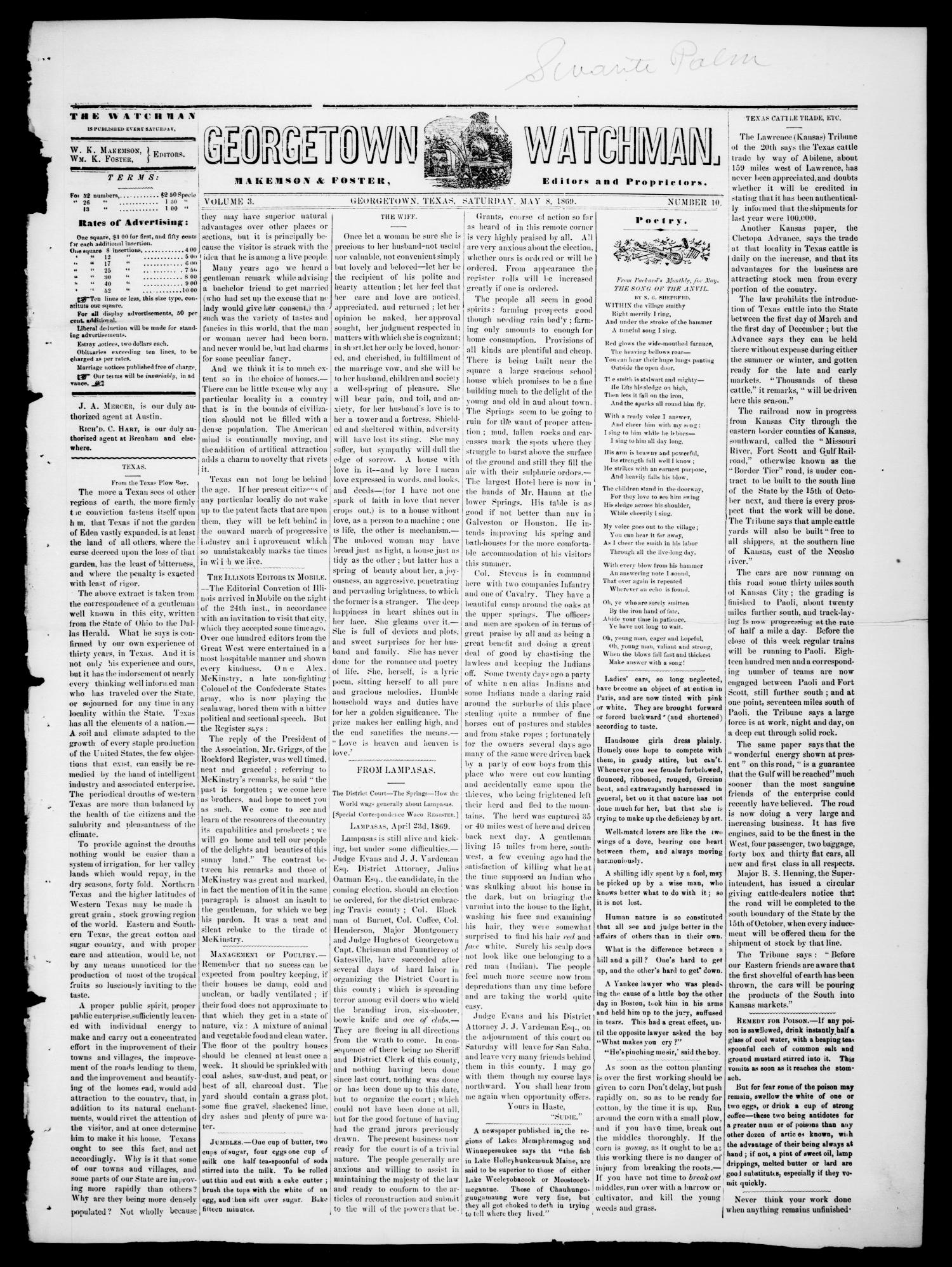 Georgetown Watchman (Georgetown, Tex.), Vol. 3, No. 10, Ed. 1 Saturday, May 8, 1869                                                                                                      [Sequence #]: 1 of 4