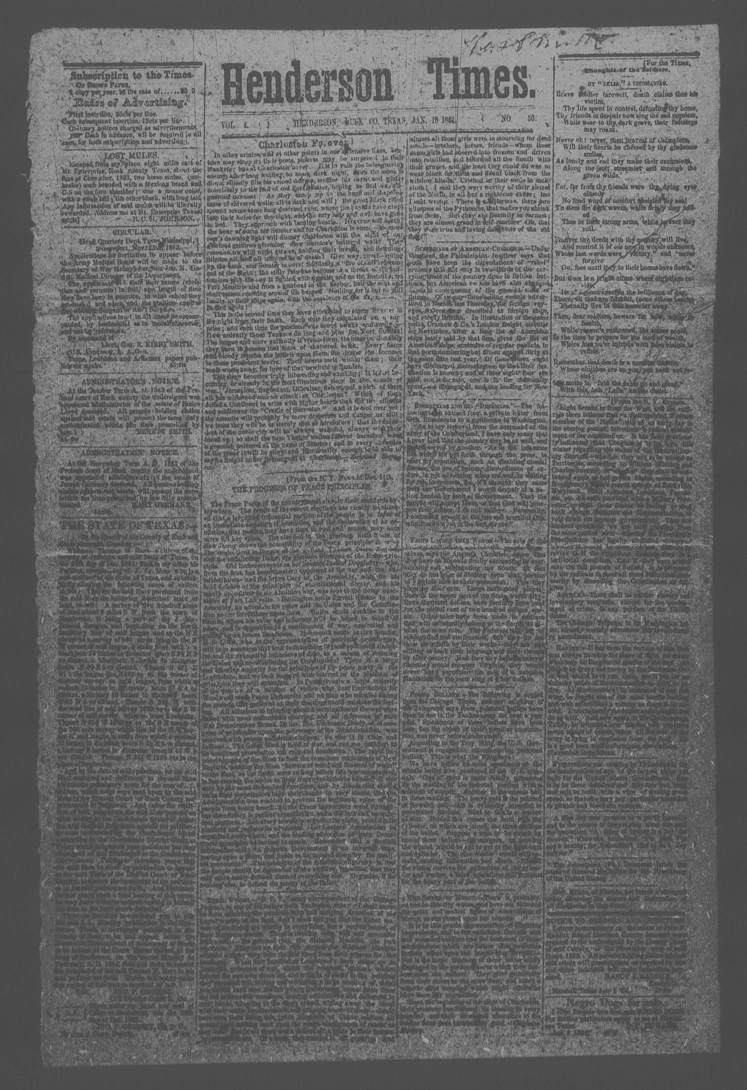 Henderson Times.  (Henderson, Tex.), Vol. 4, No. 50, Ed. 1 Saturday, January 16, 1864                                                                                                      [Sequence #]: 1 of 2