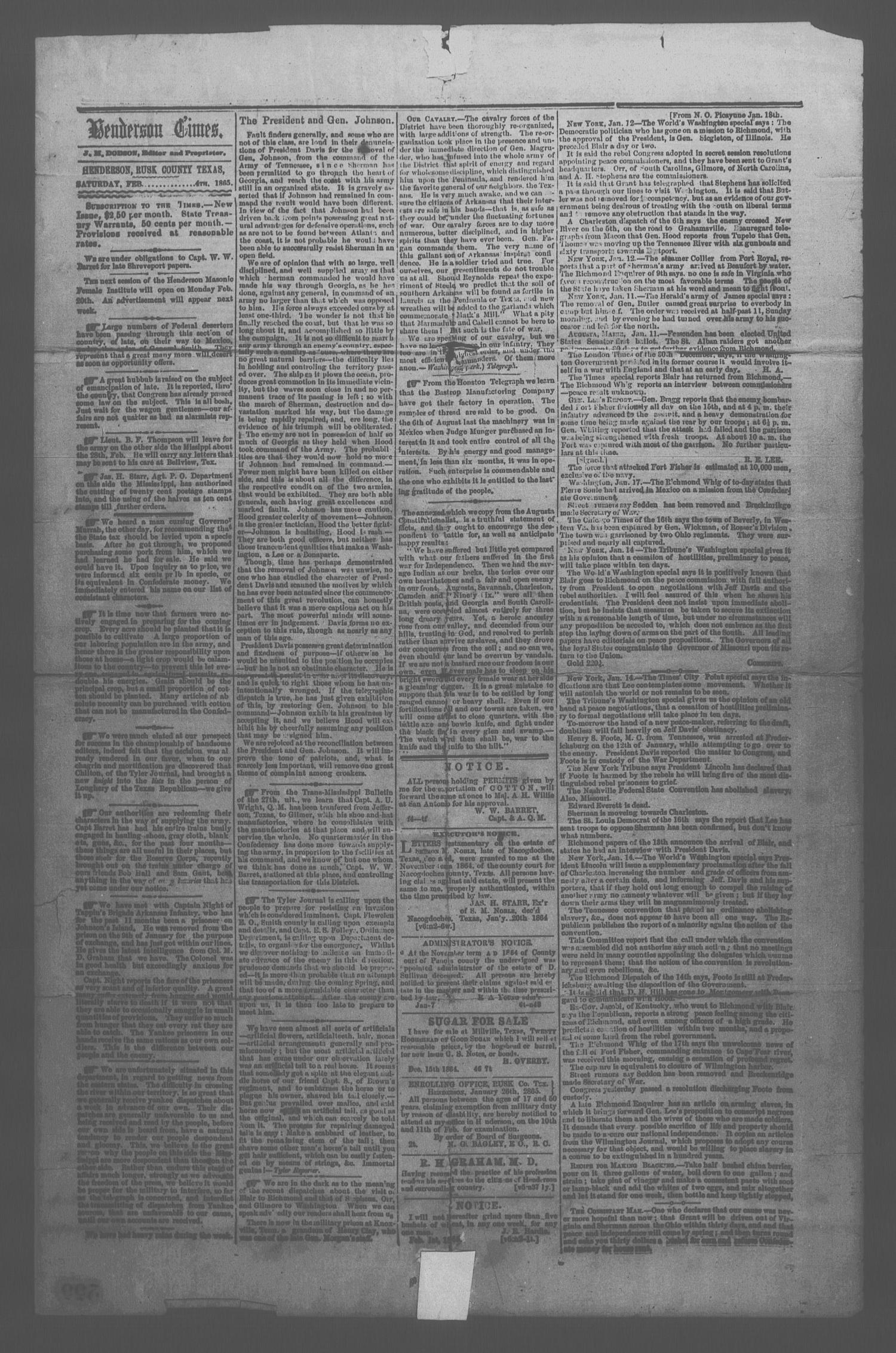 Henderson Times.  (Henderson, Tex.), Vol. 6, No. 2, Ed. 1 Saturday, February 4, 1865                                                                                                      [Sequence #]: 1 of 3