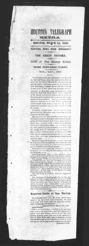 Primary view of object titled 'Houston Telegraph (Houston, Tex.), Ed. 1 Friday, March 14, 1862'.