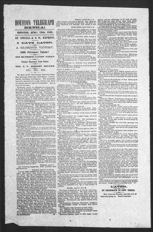 Primary view of object titled 'Houston Telegraph (Houston, Tex.), Ed. 1 Saturday, April 12, 1862'.