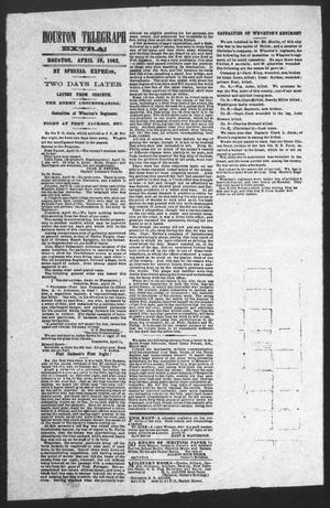 Primary view of object titled 'Houston Telegraph (Houston, Tex.), Ed. 1 Saturday, April 19, 1862'.