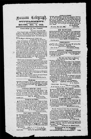 Primary view of object titled 'Houston Telegraph (Houston, Tex.), Ed. 1 Monday, December 8, 1862'.