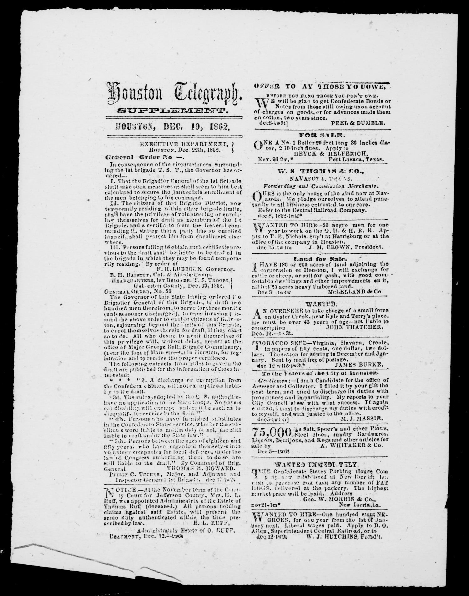 Houston Telegraph (Houston, Tex.), Ed. 1 Friday, December 19, 1862                                                                                                      [Sequence #]: 1 of 2