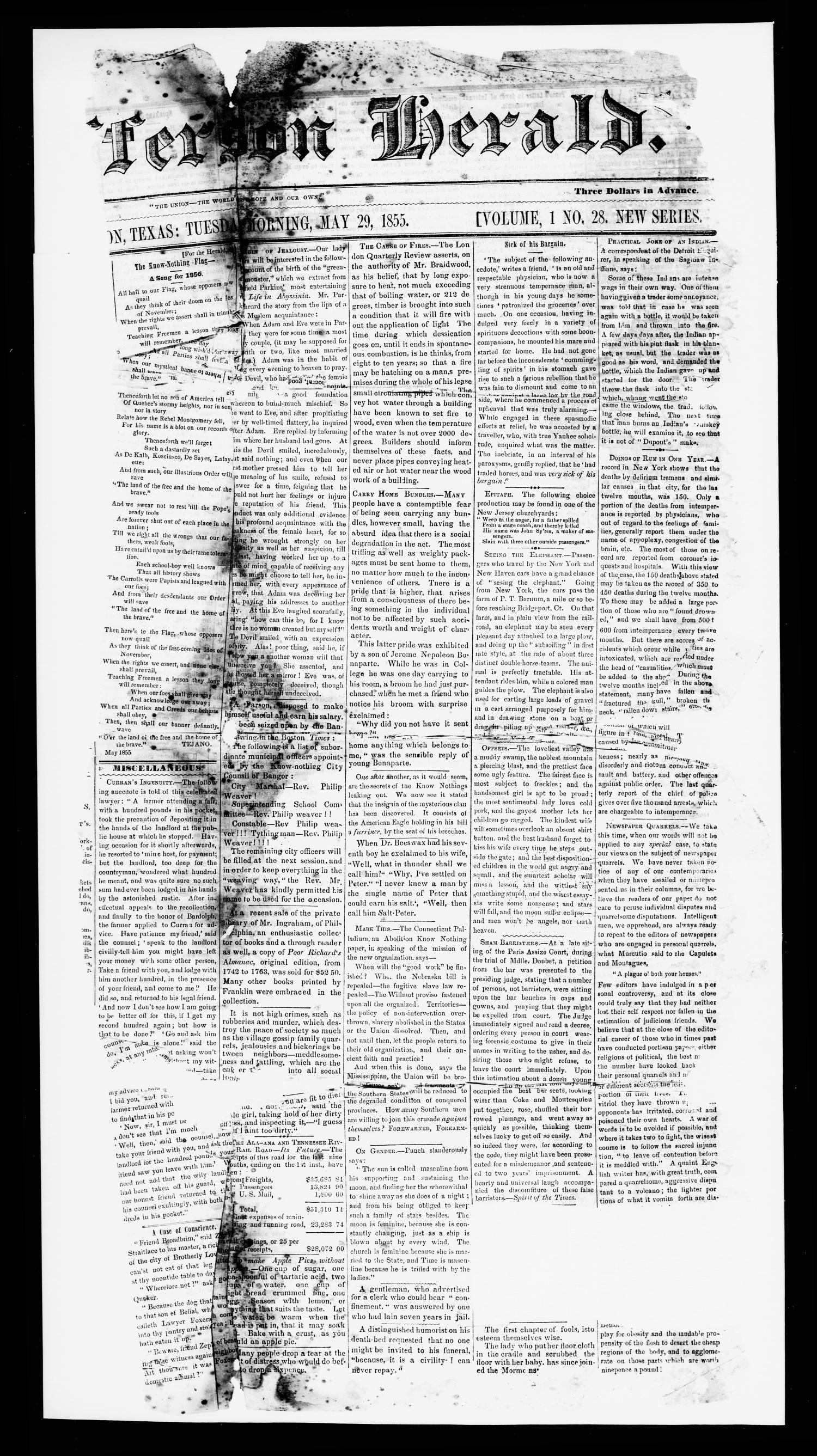Jefferson Herald. (Jefferson, Tex.), Vol. 1, No. 28, Ed. 1 Tuesday, May 29, 1855                                                                                                      [Sequence #]: 1 of 2