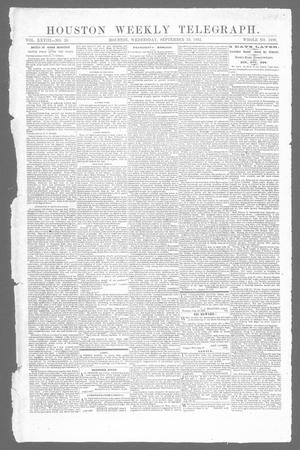 Primary view of object titled 'Houston Weekly Telegraph (Houston, Tex.), Vol. 28, No. 26, Ed. 1 Wednesday, September 10, 1862'.