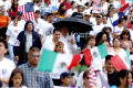 Primary view of [Group of protesters with Mexican and American Flags]