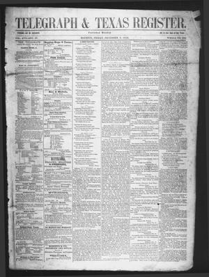 Primary view of object titled 'Telegraph & Texas Register (Houston, Tex.), Vol. 17, No. 49, Ed. 1 Friday, December 3, 1852'.