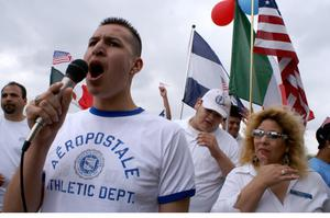 Primary view of object titled '[Arlington protester shouting into microphone]'.