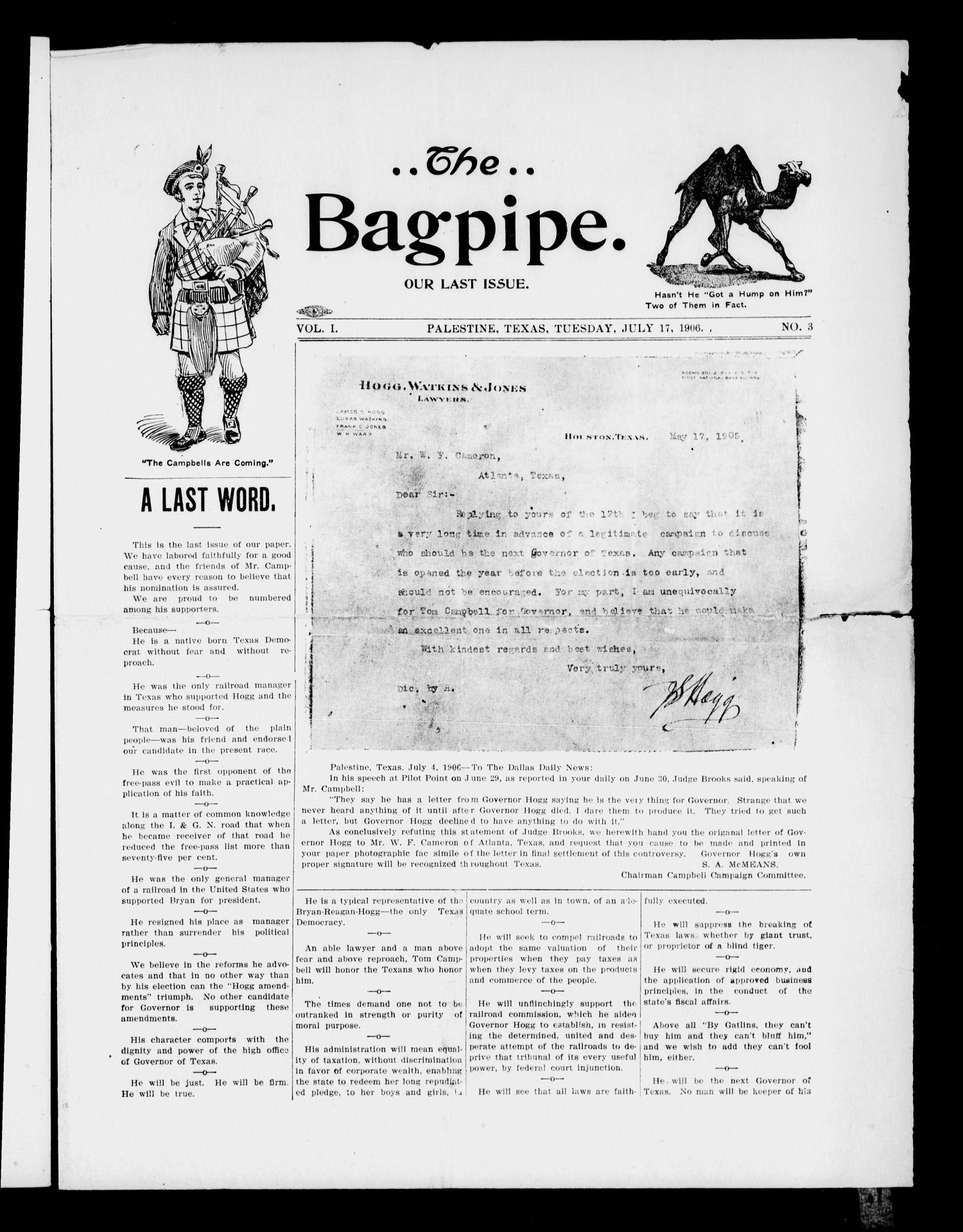 The Bagpipe. (Palestine, Tex.), Vol. 1, No. 3, Ed. 1 Tuesday, July 17, 1906                                                                                                      [Sequence #]: 1 of 4