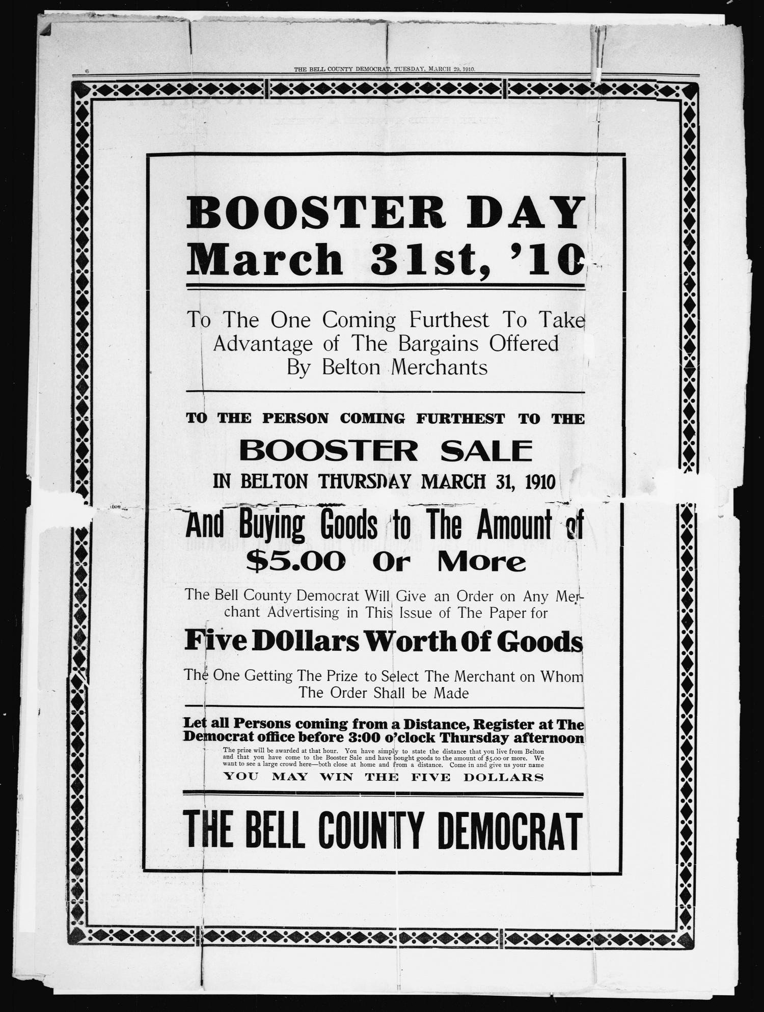 The Bell County Democrat (Belton, Tex.), Vol. 14, No. 69, Ed. 1 Tuesday, March 29, 1910                                                                                                      [Sequence #]: 2 of 6