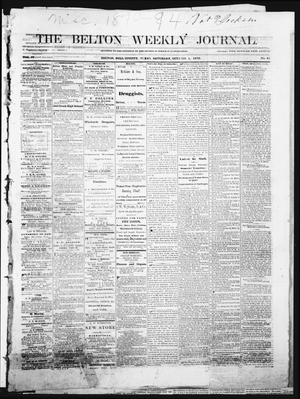 The Belton Weekly Journal (Belton, Tex.), Vol. 4, No. 41, Ed. 1 Saturday, October 1, 1870